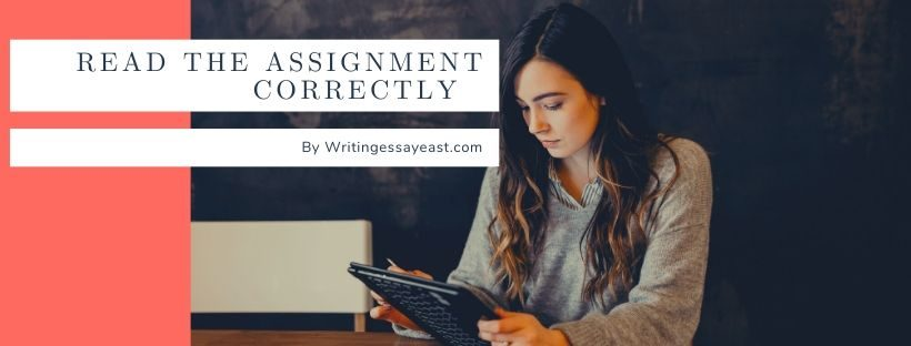 Banner for an article about How to read the assignment correctly with a girl reading something on the laptop