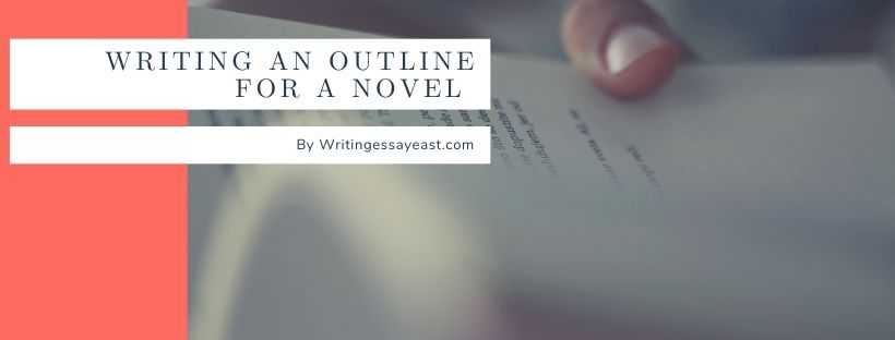 Banner about writing an outline for a novel with a man holding a book in his hands